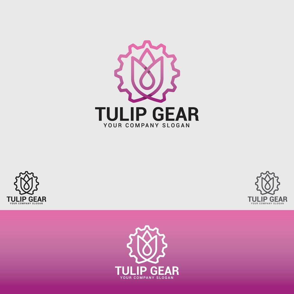 modèle de vecteur de conception de logo tulipe gear