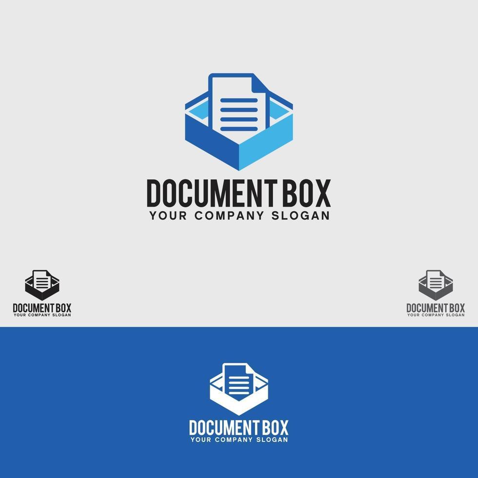modèle de conception de logo de boîte de document vecteur