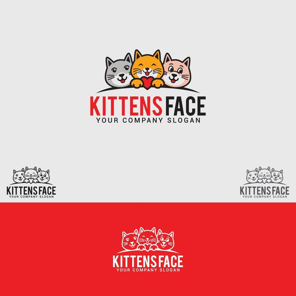 modèle de vecteur de conception de logo chatons-face