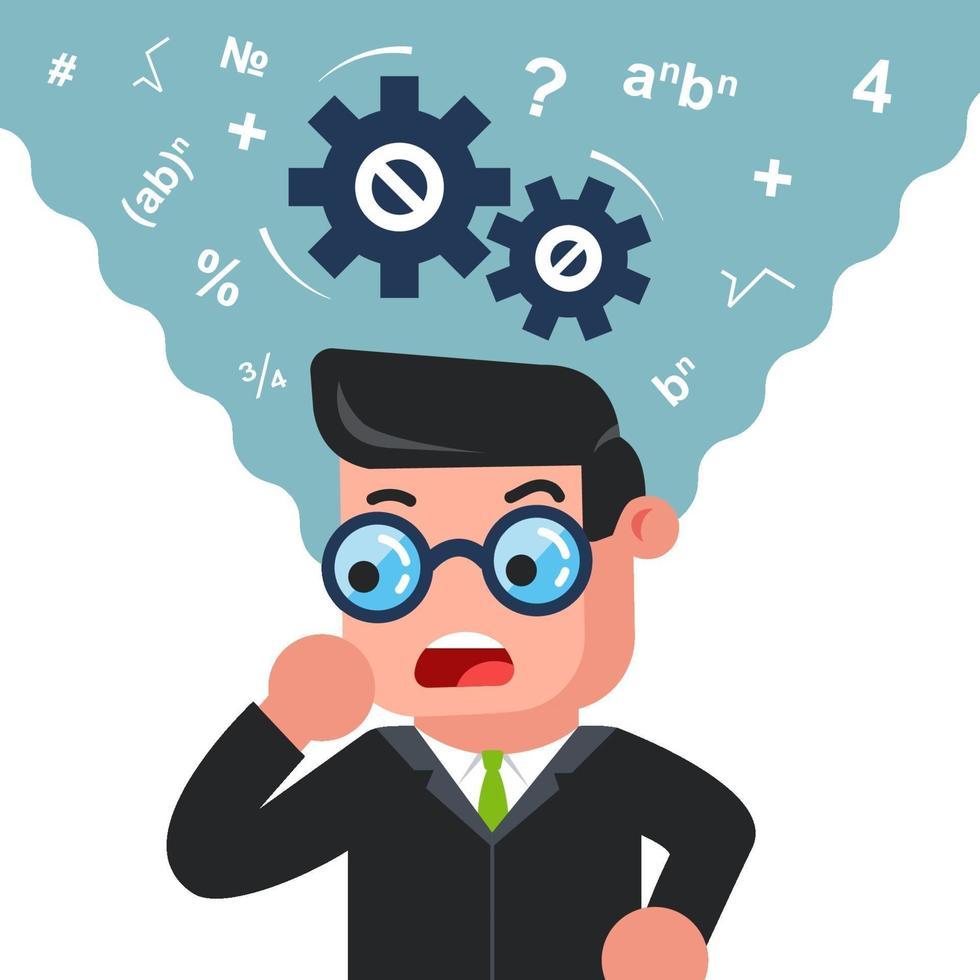 un homme avec des lunettes pense à résoudre un problème. esprit mathématique. illustration vectorielle de caractère plat. vecteur