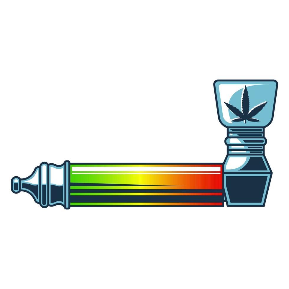 pipe à fumer pour la marijuana. illustration vectorielle plane isolée sur fond blanc. vecteur