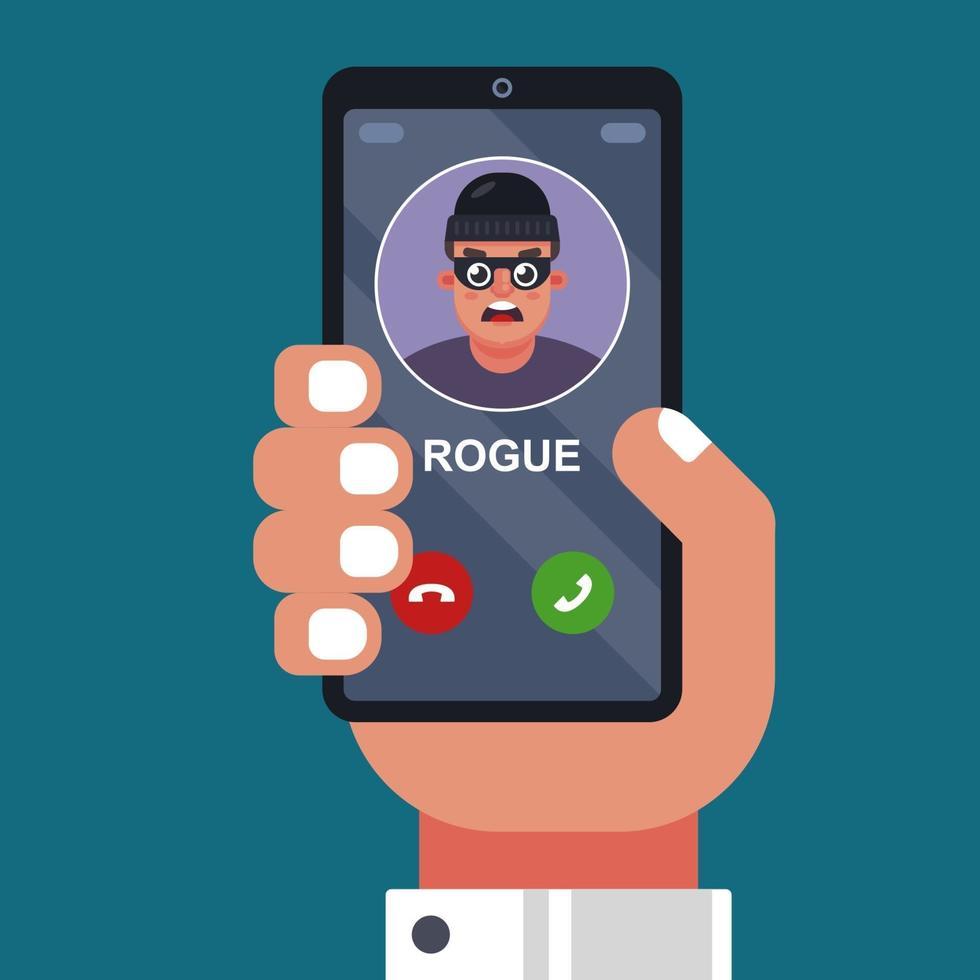 un escroc appelle sur un téléphone portable. extorquer de l'argent, tricher au téléphone. illustration vectorielle plane vecteur