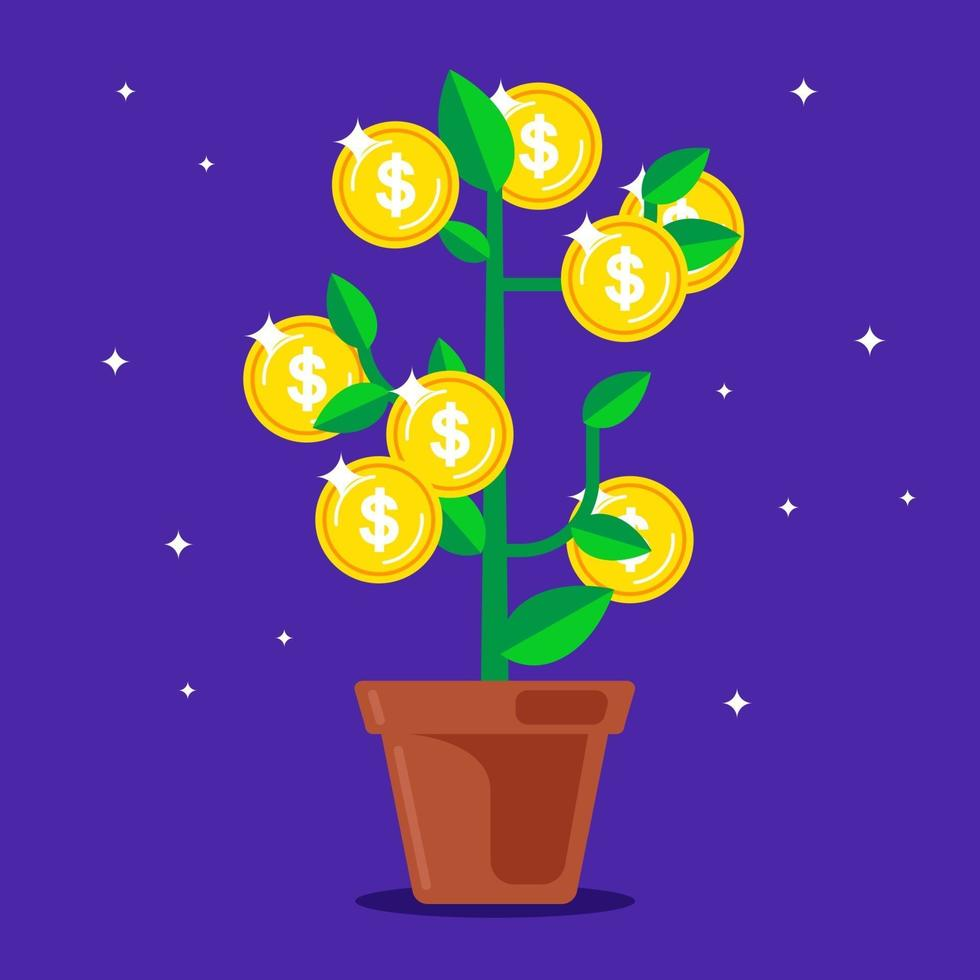 arbre d'argent avec des pièces de monnaie au lieu de fruits. illustration vectorielle plane vecteur