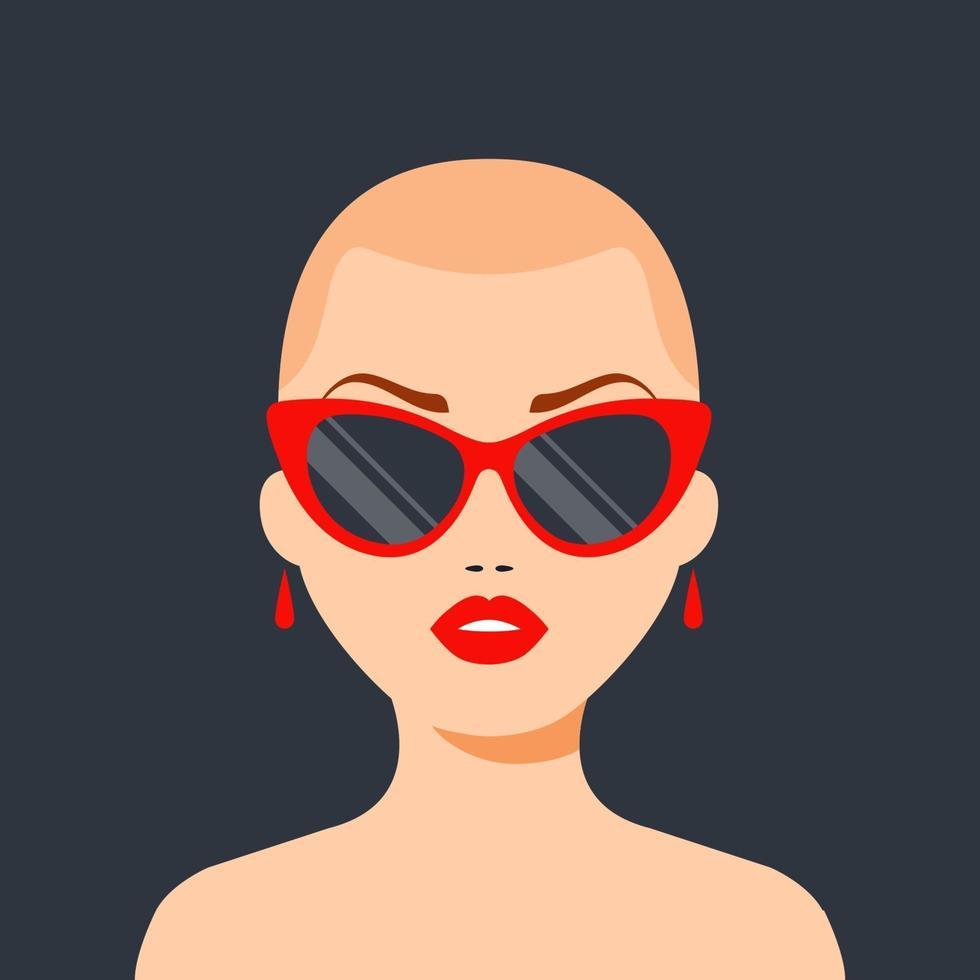 fille chauve à la mode avec des lunettes et des lèvres rouges. victoire sur le cancer. illustration vectorielle de caractère plat. vecteur