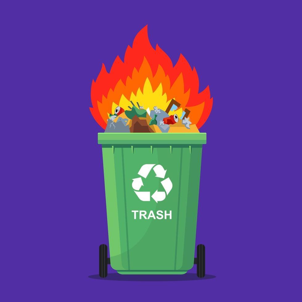 les ordures dans la poubelle peuvent brûler. incinération des déchets. illustration vectorielle plane. vecteur