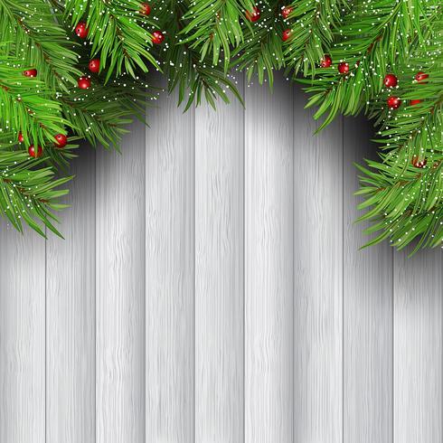 Branches d'arbres de Noël sur fond en bois vecteur