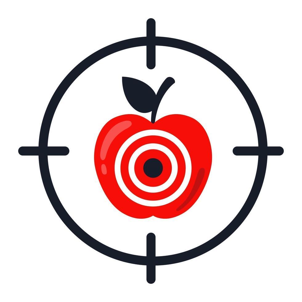 cible de pomme. atteint exactement la cible. illustration vectorielle plane vecteur