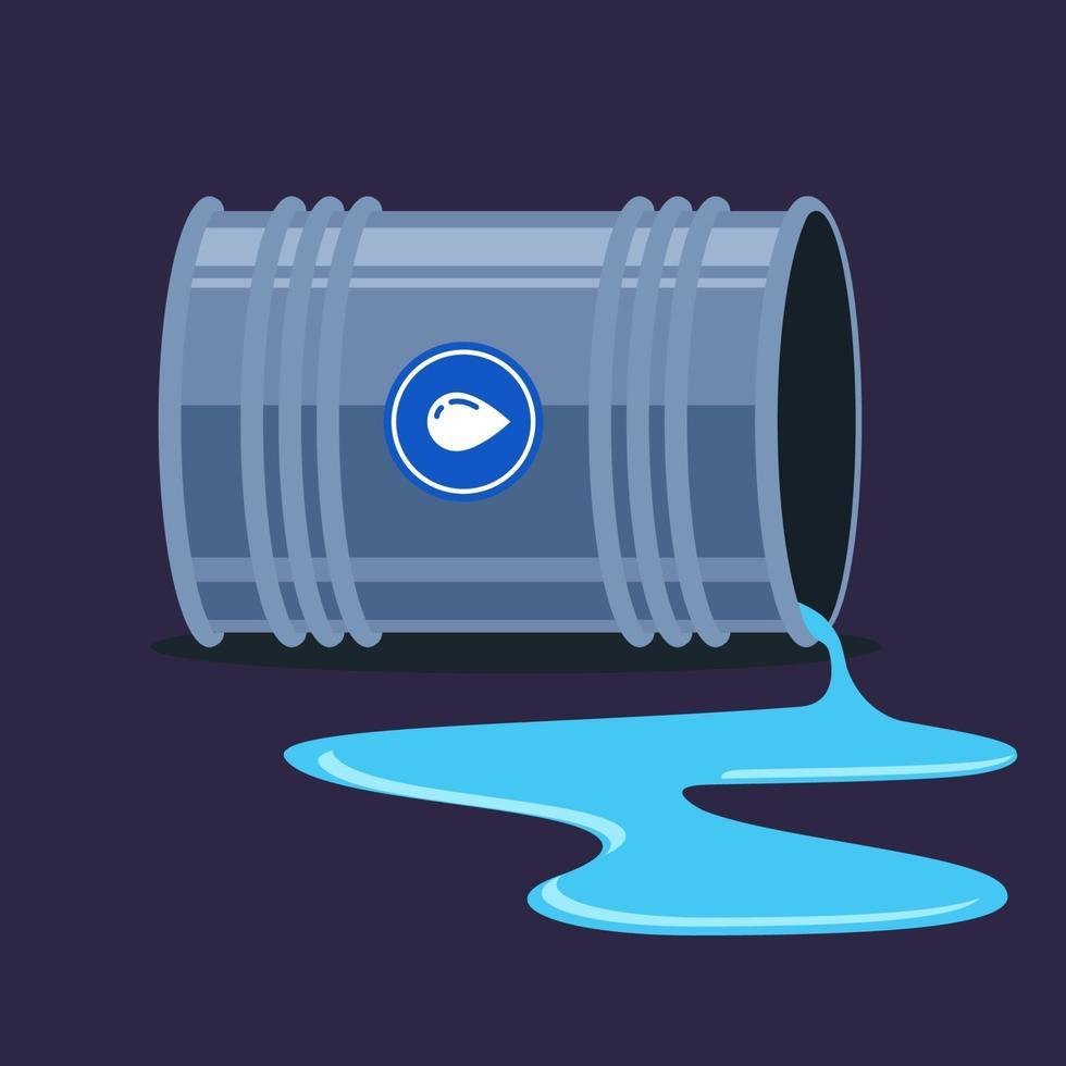 un baril d'eau renversé. formation de flaques d'eau. illustration vectorielle plane. vecteur