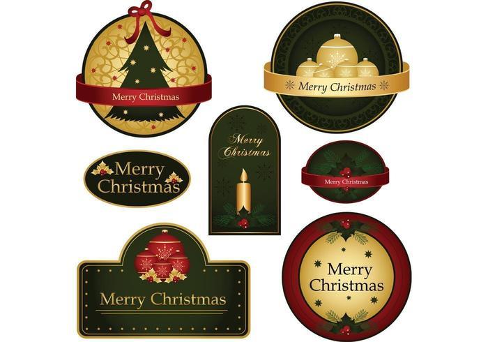 Vecteurs d'étiquettes de Joyeux Noël vecteur