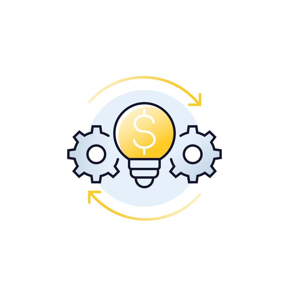 innovations, icône de la technologie financière, vector.eps vecteur