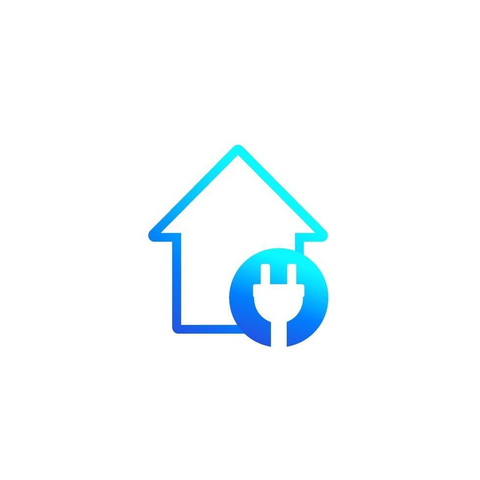 icône de l & # 39; électricité avec la maison et la prise électrique.eps vecteur