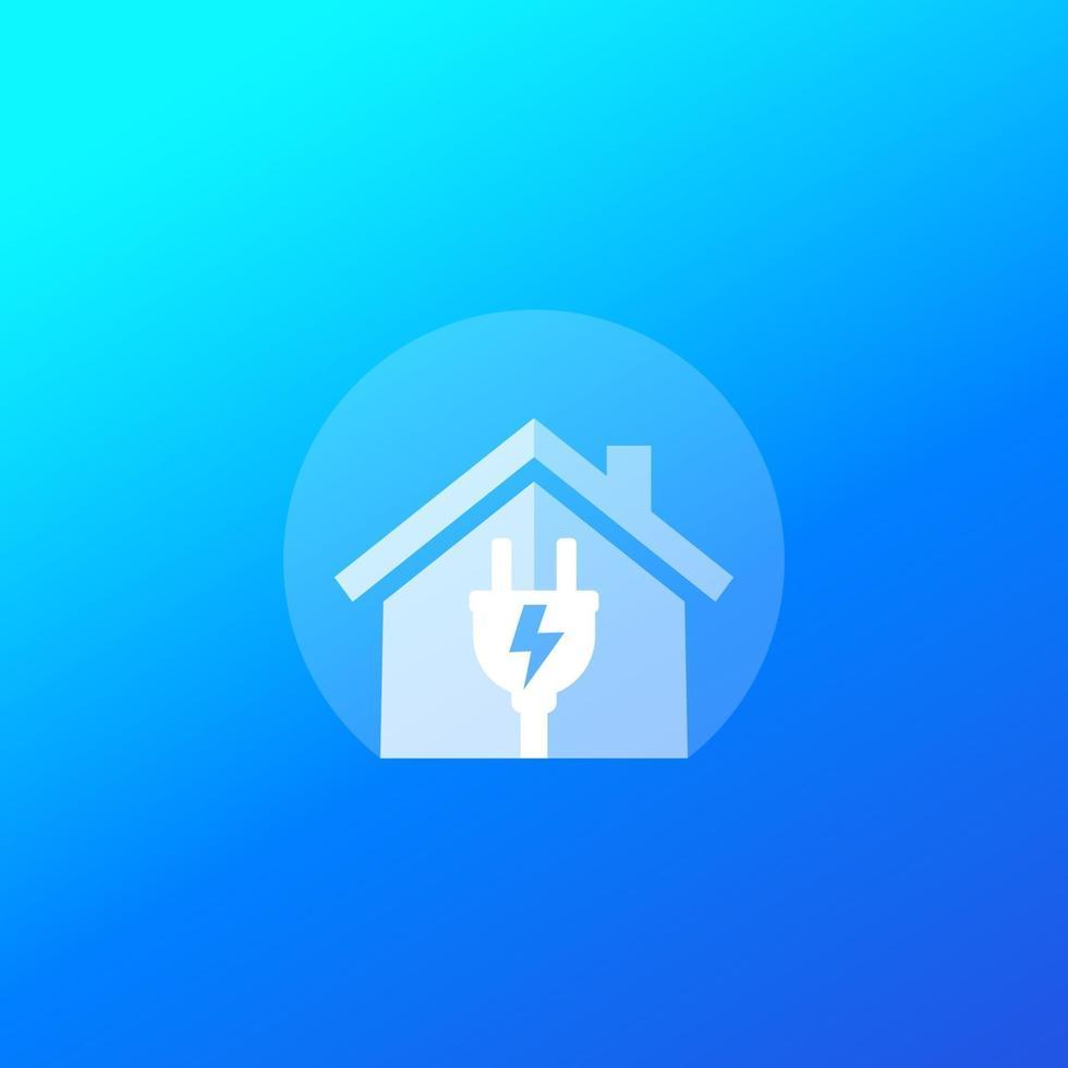 icône d'électricité avec maison et prise électrique, vector logo.eps