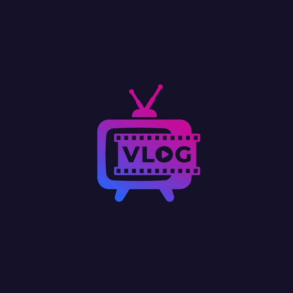 logo vlog avec vieux téléviseur, vector.eps vecteur
