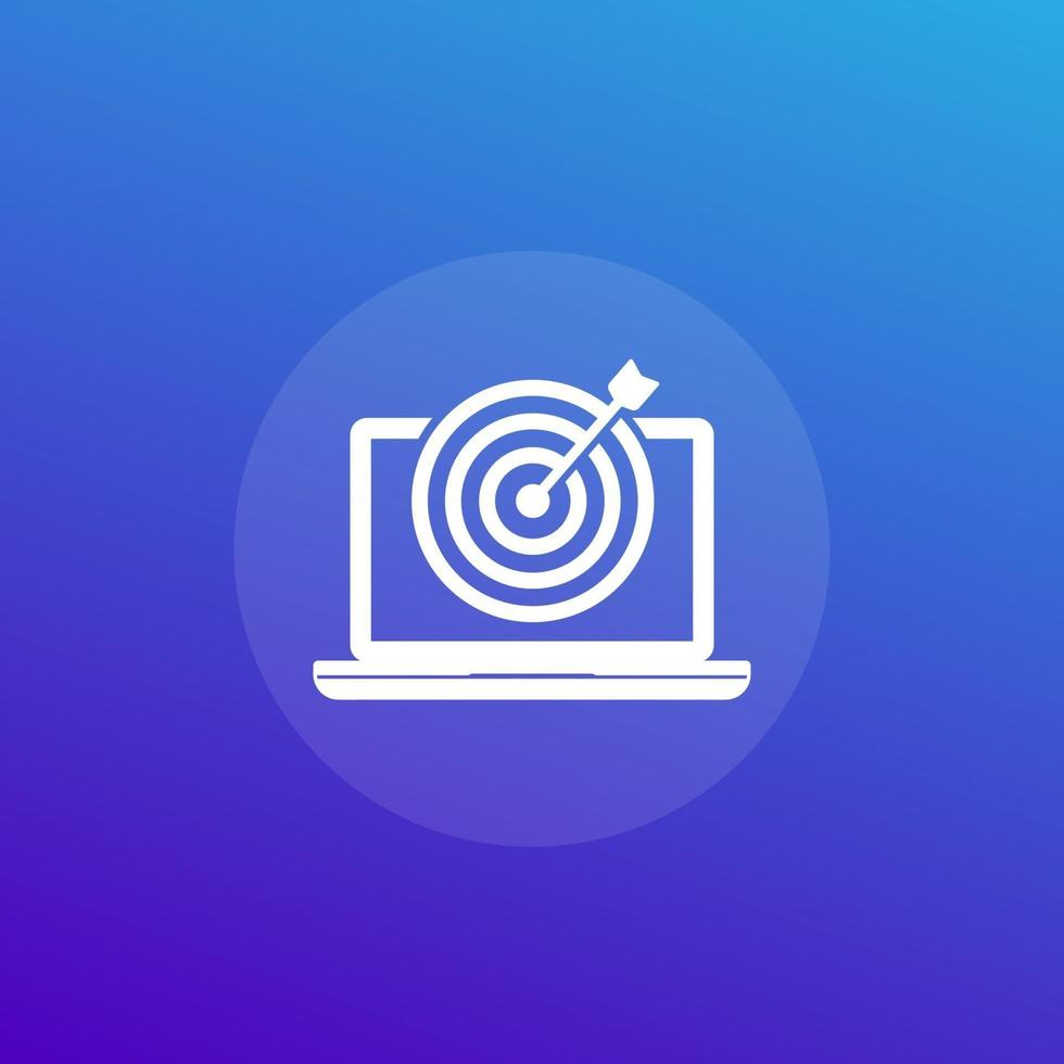 cible et ordinateur portable, icône de vecteur de marketing numérique.eps
