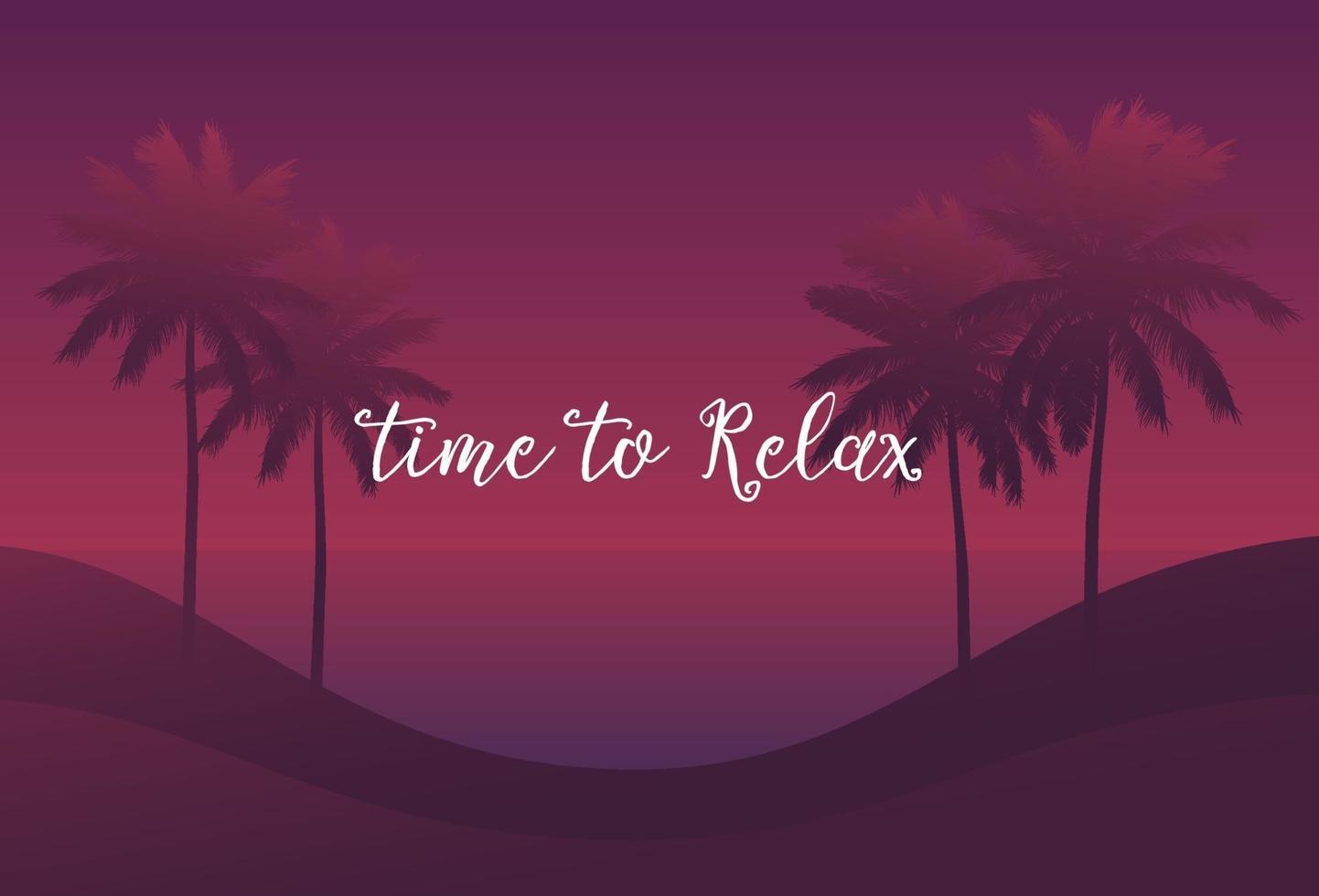 temps de se détendre, paumes au coucher du soleil, vector scene.eps