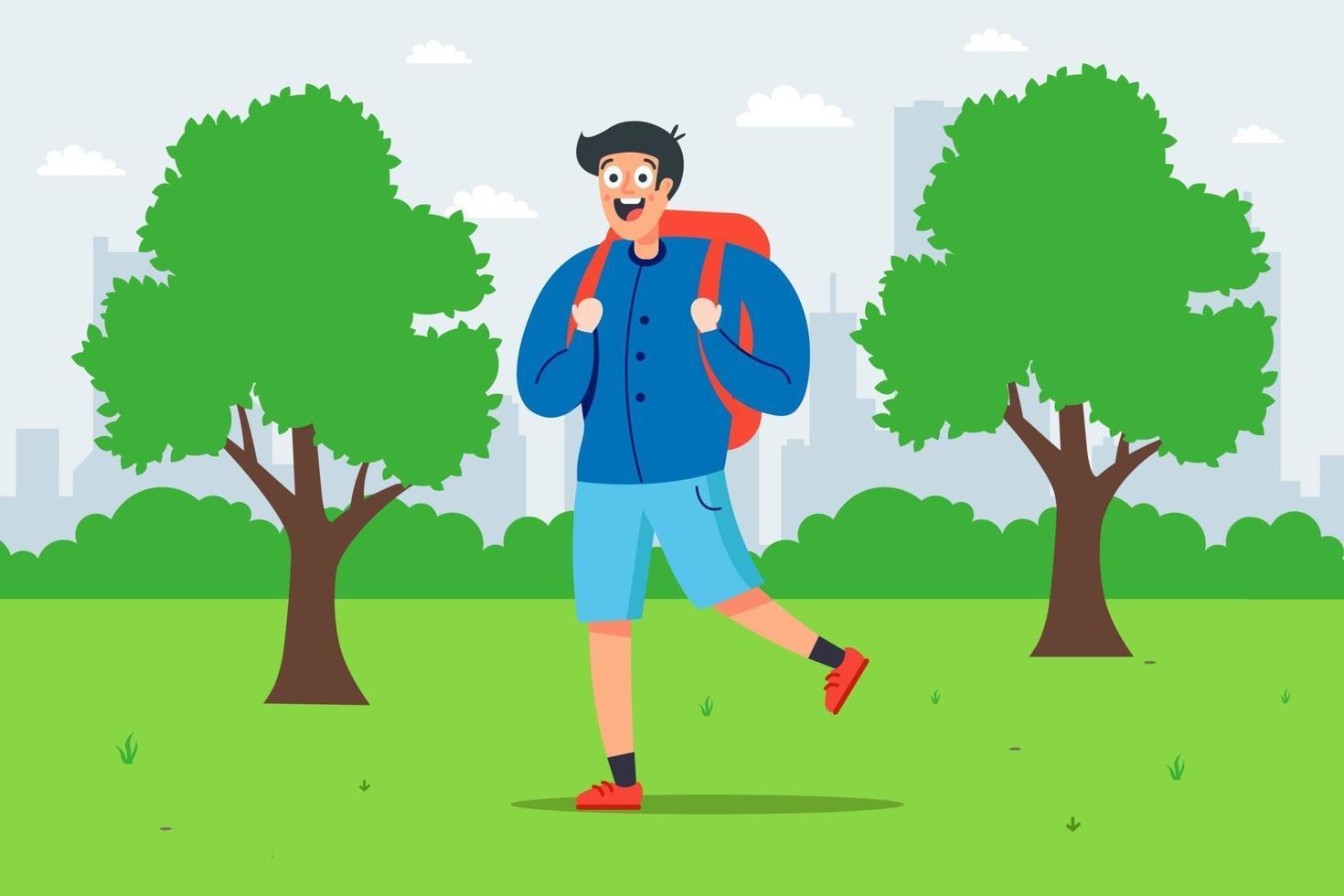garçon avec un sac à dos se promène dans un parc verdoyant. illustration vectorielle plane. vecteur