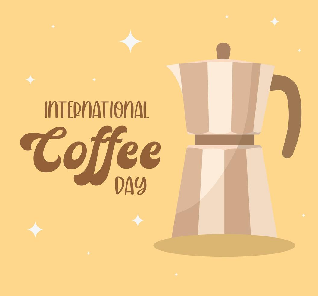 journée internationale du café avec la conception de vecteur de bouilloire