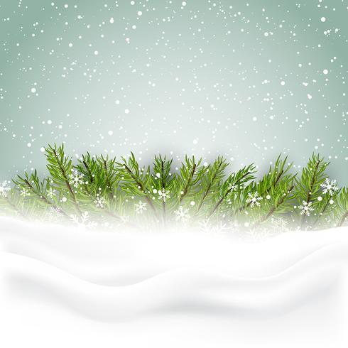 Fond de Noël avec sapin et neige vecteur