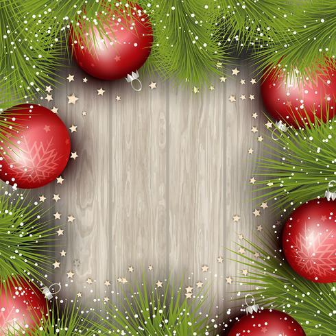 Fond de Noël avec des branches d'arbres de pin et des boules vecteur