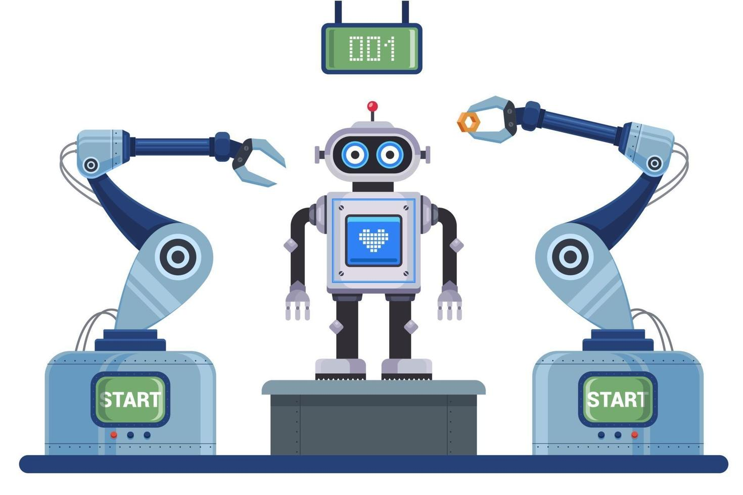 convoyeur mécanisé pour l'assemblage du robot. illustration vectorielle de caractère plat. vecteur
