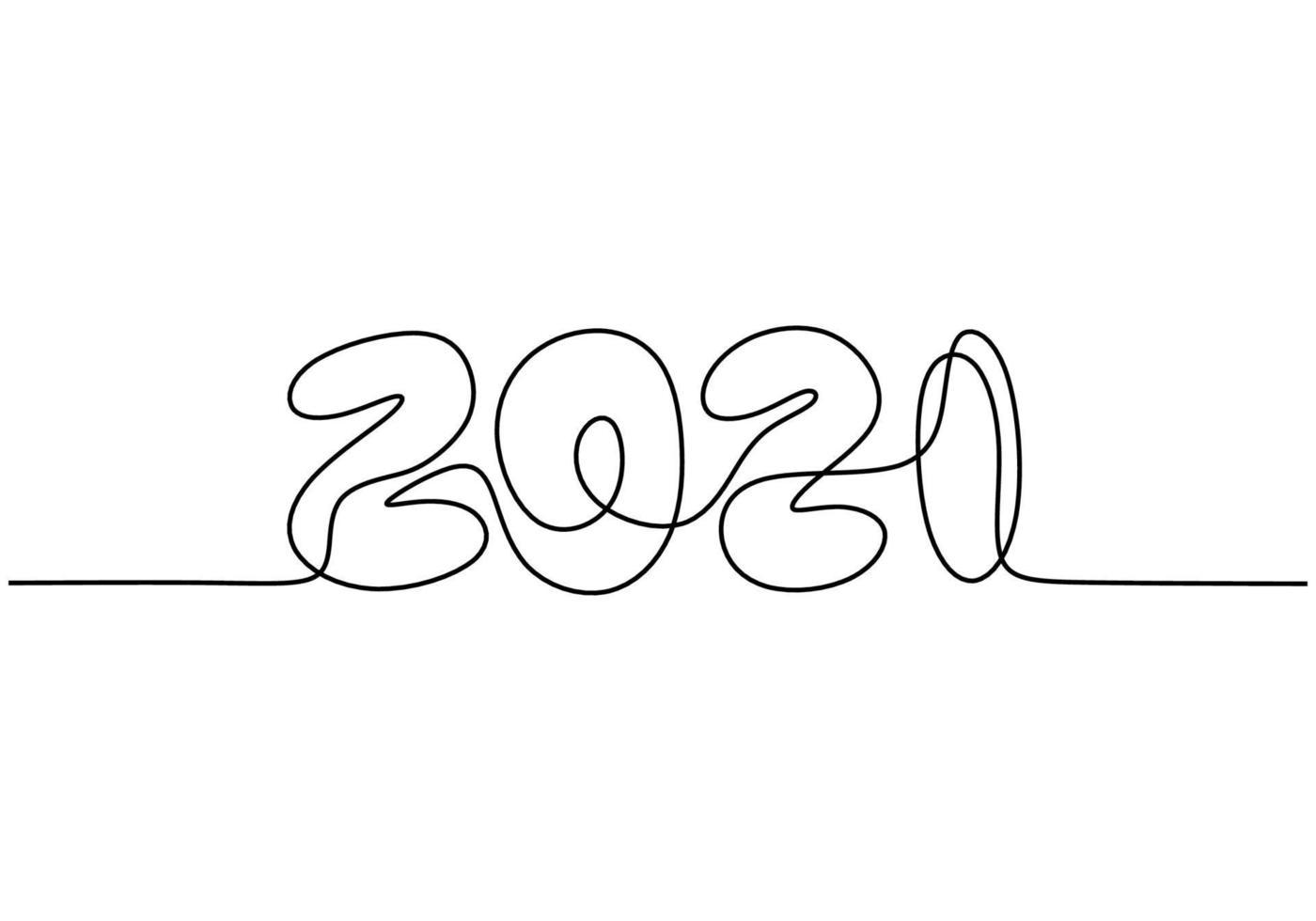 Conception de nouvel an 2021 en ligne continue art dessin style minimaliste croquis linéaire noir isolé sur fond blanc. année du taureau. bonne année concept. illustration de conception de vecteur