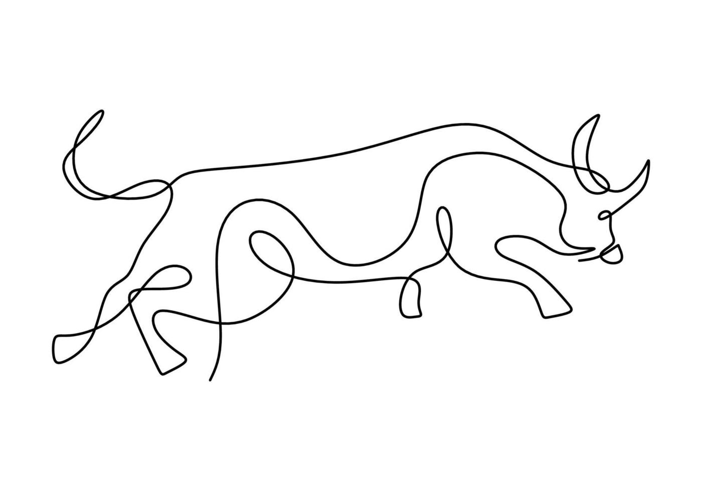 dessin continu d'un symbole de taureau de 2021. année du bœuf dessiné dans un style minimaliste moderne isolé sur fond blanc. résumé, bœuf, taureau, vache. bonne année 2021. illustration vectorielle vecteur
