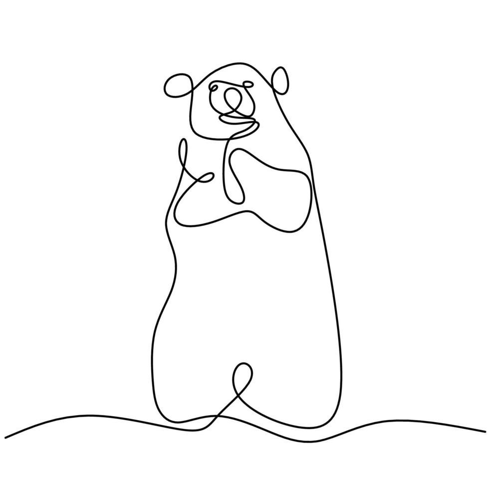 dessin au trait continu des ours. L'ours grizzli mignon est debout dans un style de minimalisme dessiné à la main d'hiver. concept animal mammifère sauvage isolé sur fond blanc. illustration de conception de vecteur
