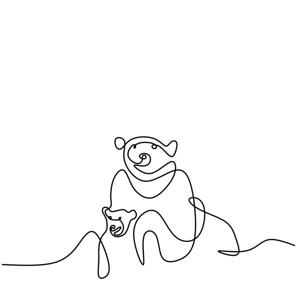 dessin d'une ligne continue unique de deux ours panda dans la terre de glace. un panda géant dans la forêt. hiver, animaux sauvages, mascotte, concept, dessiné, main, minimalisme, style, vecteur, illustration. vecteur