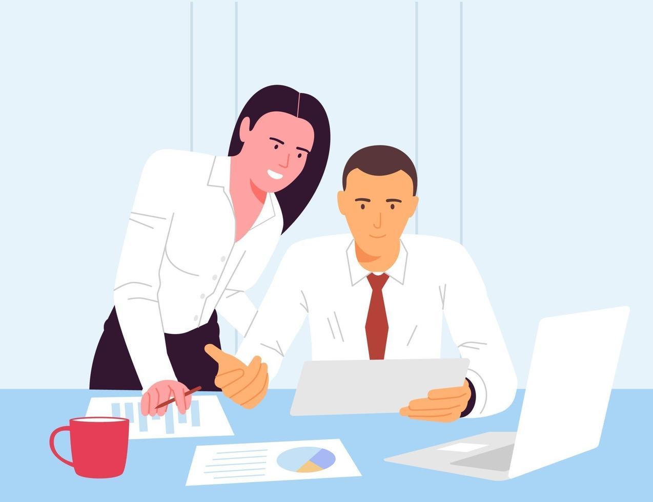 illustration vectorielle plane du flux de travail au bureau, un groupe d'hommes d'affaires travaillant sur un ordinateur et une autre partie des spécialistes du marketing discutent de solutions marketing et de plans d'affaires. vecteur