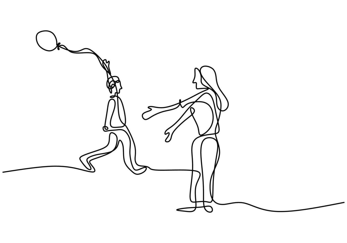 dessin continu d'une seule ligne de la jeune maman et de son enfant qui tient le ballon. belle mère avec le garçon au festival de carnaval de nuit isolé sur fond blanc. illustration de conception de vecteur