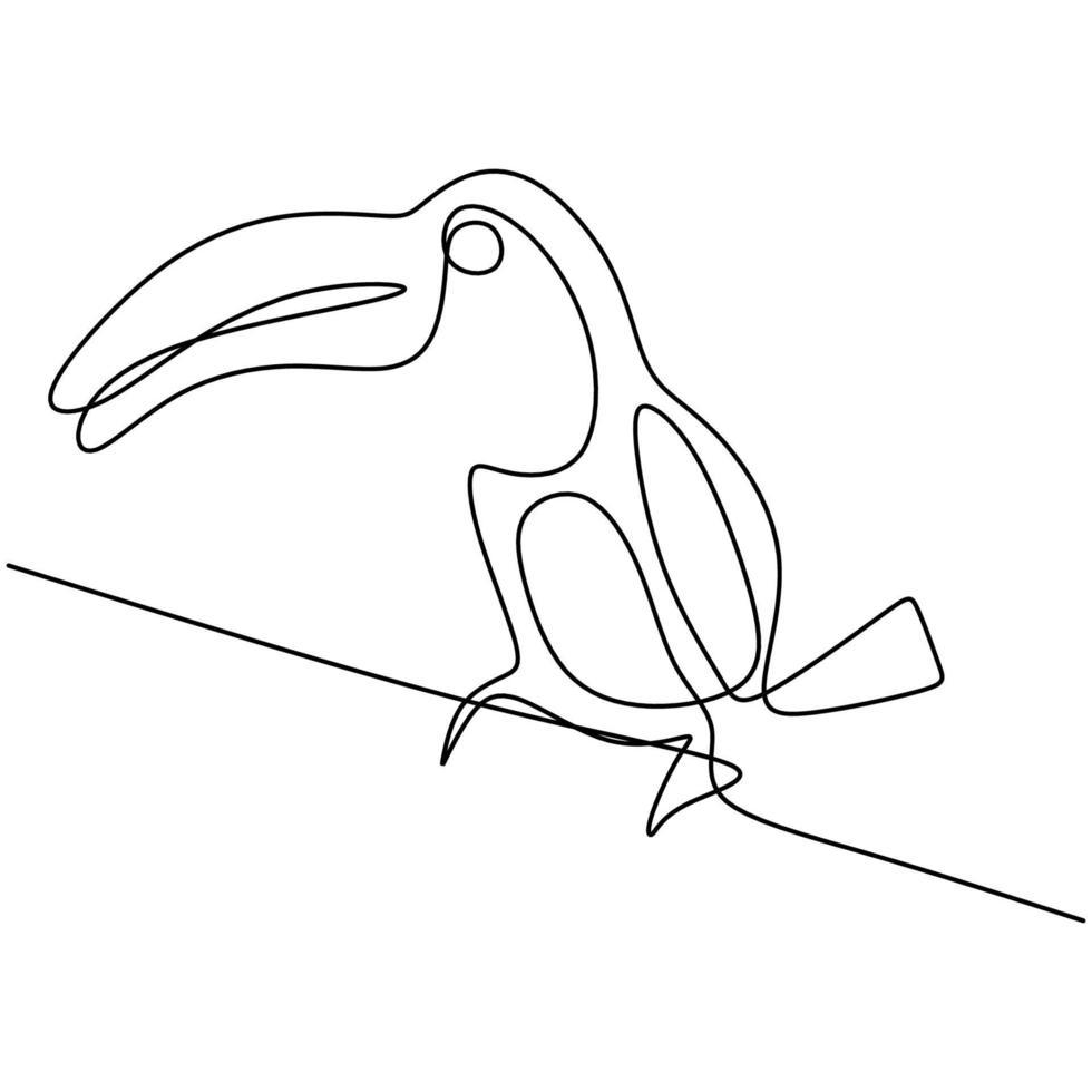 dessin au trait continu d'un adorable oiseau toucan avec un grand bec. concept de mascotte animal exotique pour l'icône du parc national de conservation. identité du logo. animal en danger. illustration de conception de vecteur