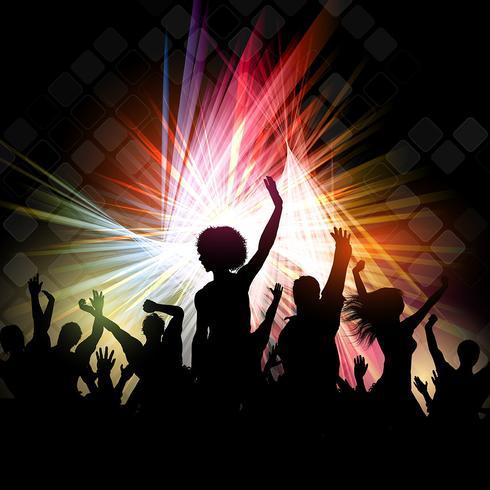 Silhouettes de gens qui dansent sur un fond abstrait vecteur