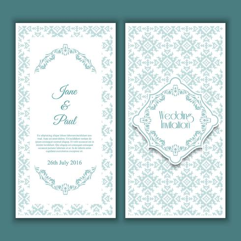 Conception d'invitation de mariage décorative vecteur