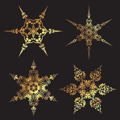 Motifs de flocons de neige dorés vecteur