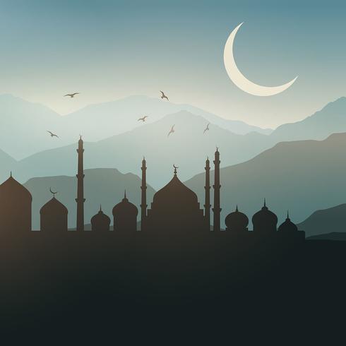 Fond de paysage de Ramadan vecteur
