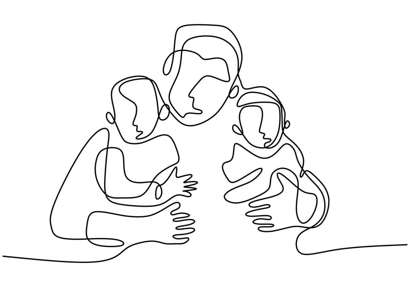 dessin au trait continu du père avec son bébé. heureux jeune papa s'occupant de son enfant et montrant son amour. Joyeuse fête des pères. concept de temps en famille. conception de minimalisme. illustration vectorielle vecteur