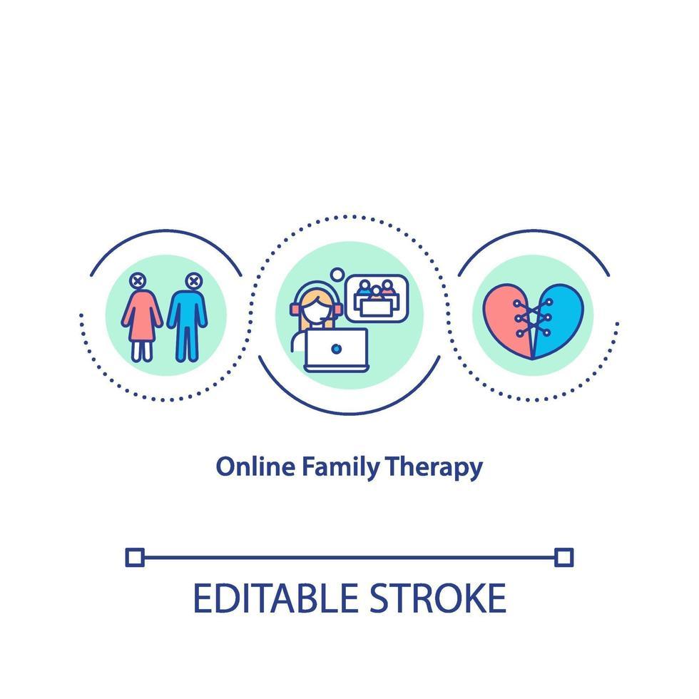 icône de concept de thérapie familiale en ligne vecteur