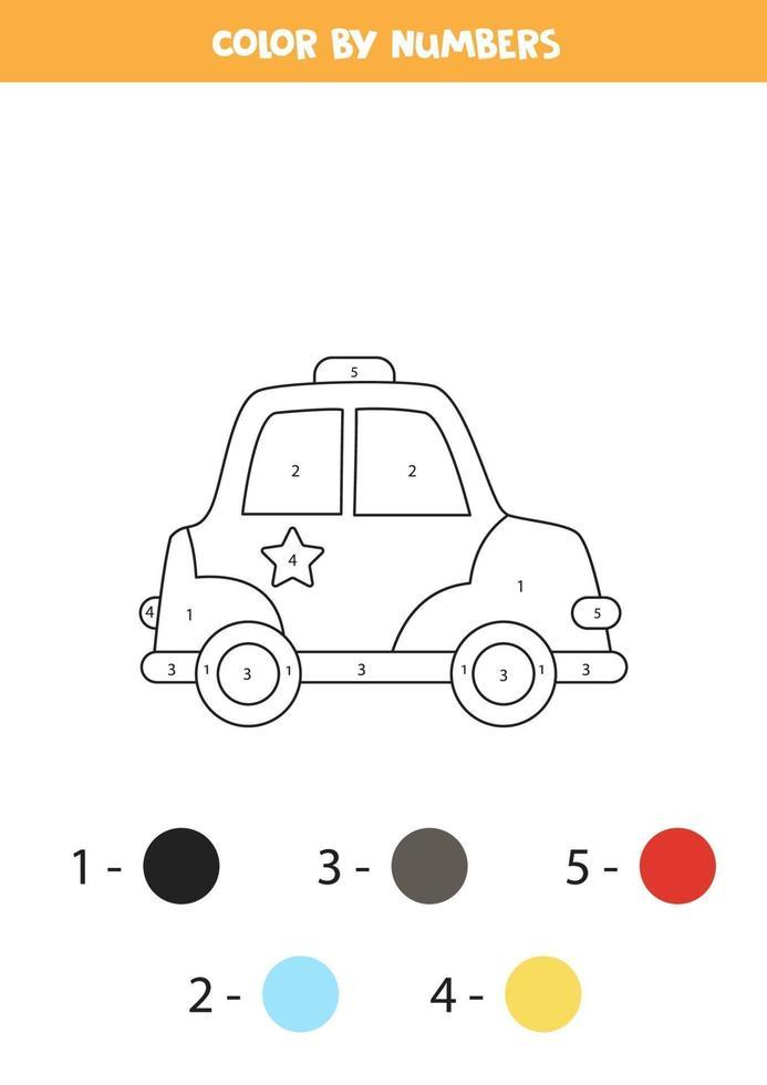 voiture de police de dessin animé de couleur en chiffres. feuille de calcul de transport. vecteur