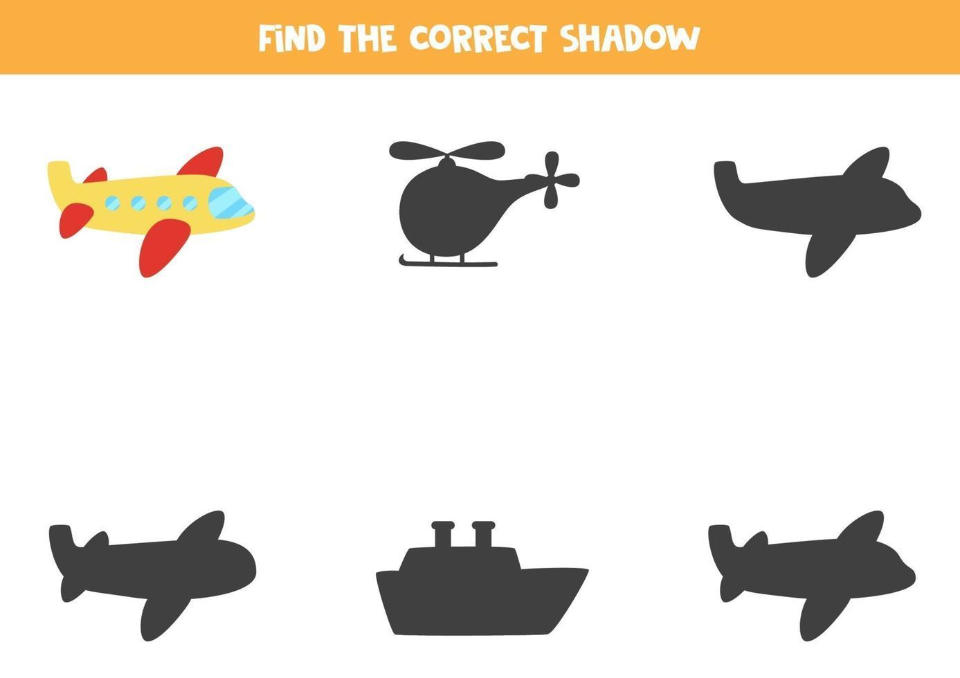 trouver l'ombre correcte de l'avion. puzzle logique pour les enfants. vecteur