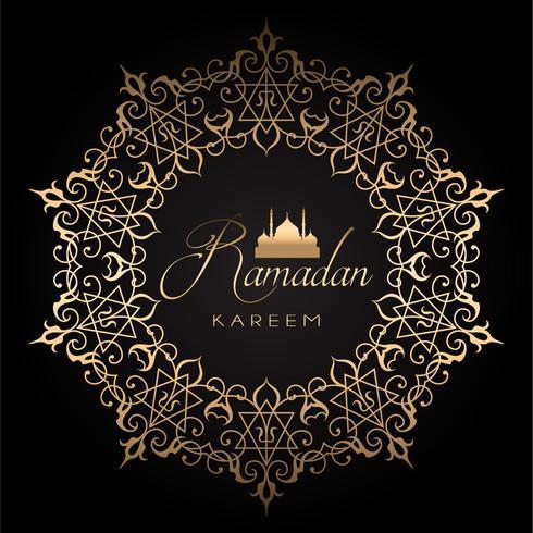 Fond de ramadan doré et noir vecteur