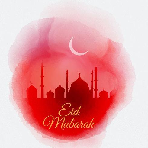 Fond d'aquarelle Eid Mubarak vecteur