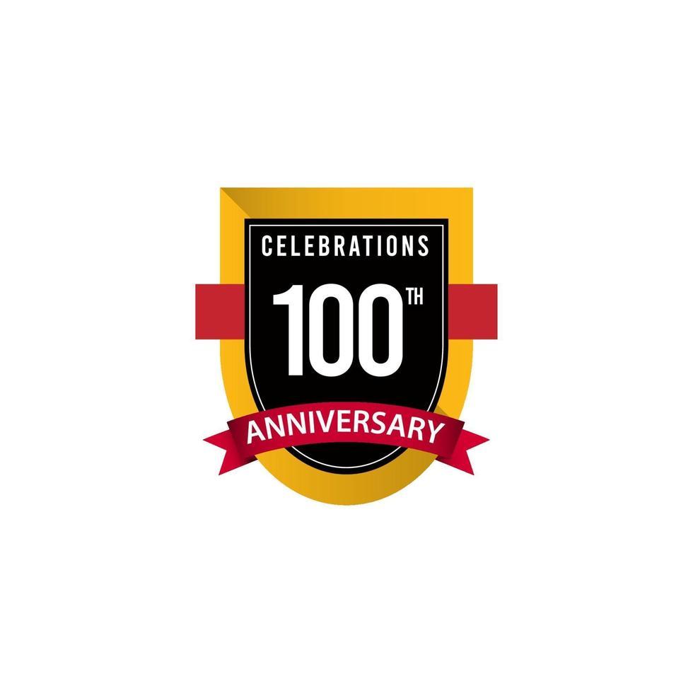 100 e anniversaire célébrations or noir blanc vector illustration de conception de modèle