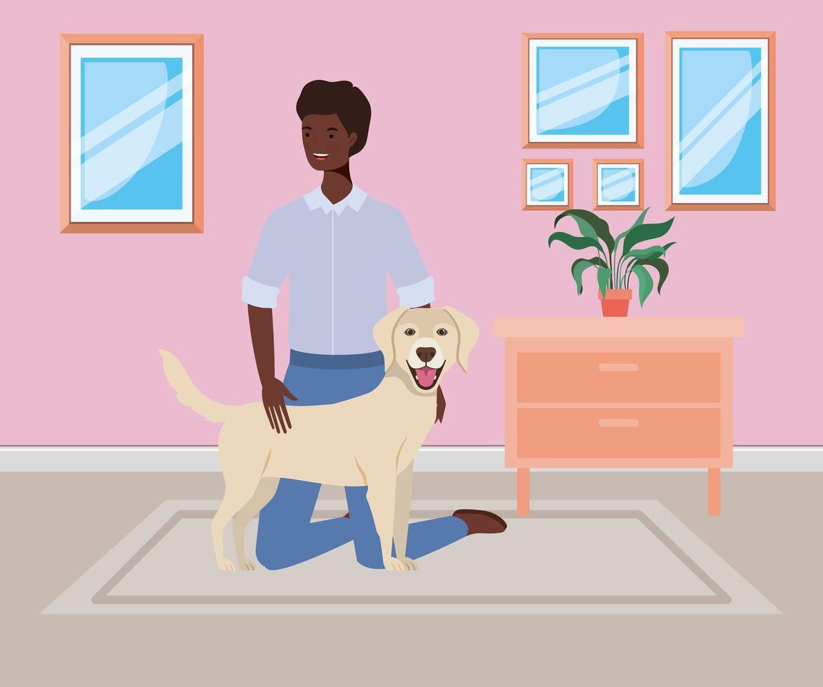 homme afro avec mascotte de chien mignon dans la chambre vecteur