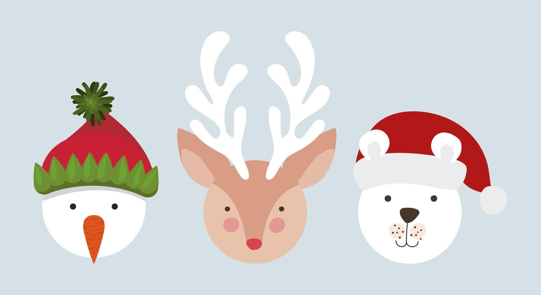 personnages de Noël mignons vecteur