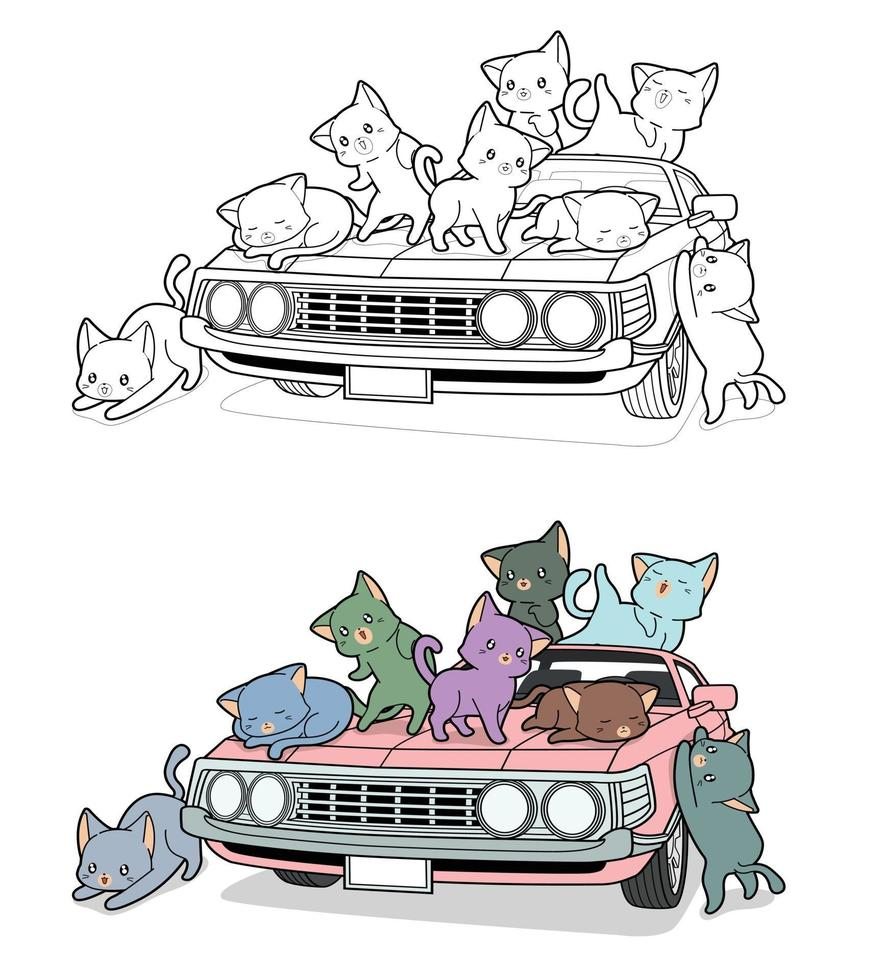 chats mignons sur la voiture, coloriage de dessin animé pour les enfants vecteur
