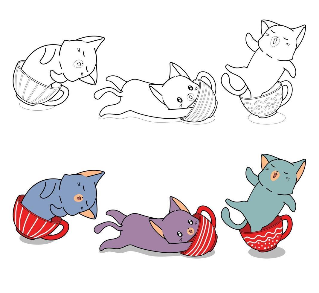chat mignon dans une tasse de café, coloriage de dessin animé pour les enfants vecteur