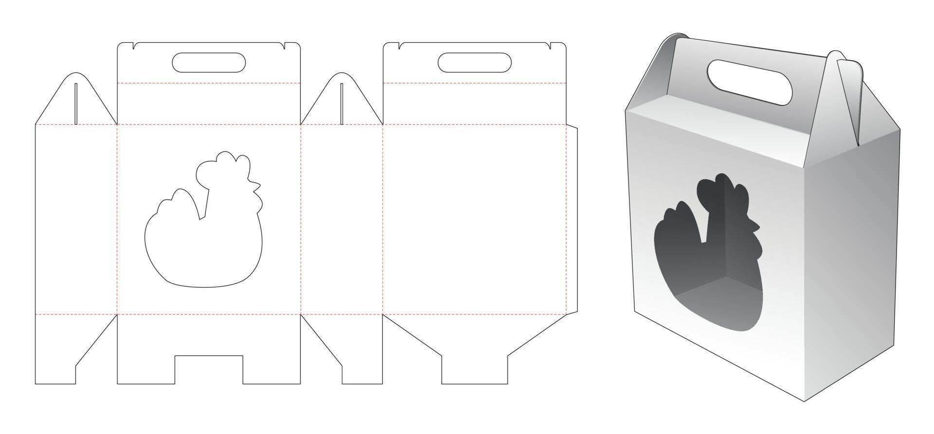 carton avec modèle de découpe de fenêtre en forme de poule vecteur