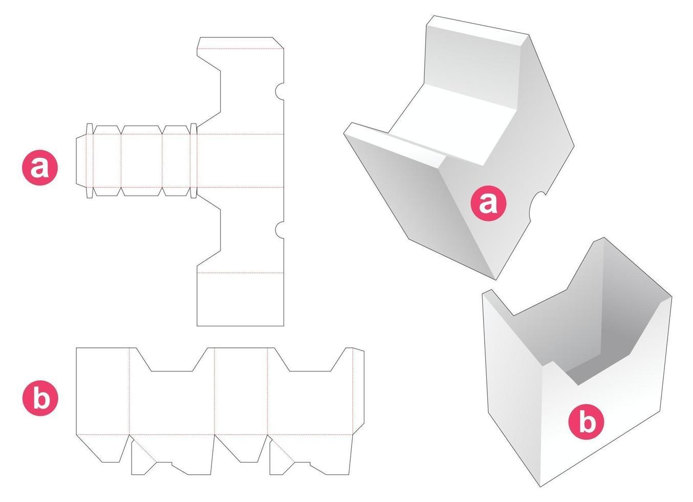 jolie boîte en forme de chat avec couvercle modèle découpé vecteur
