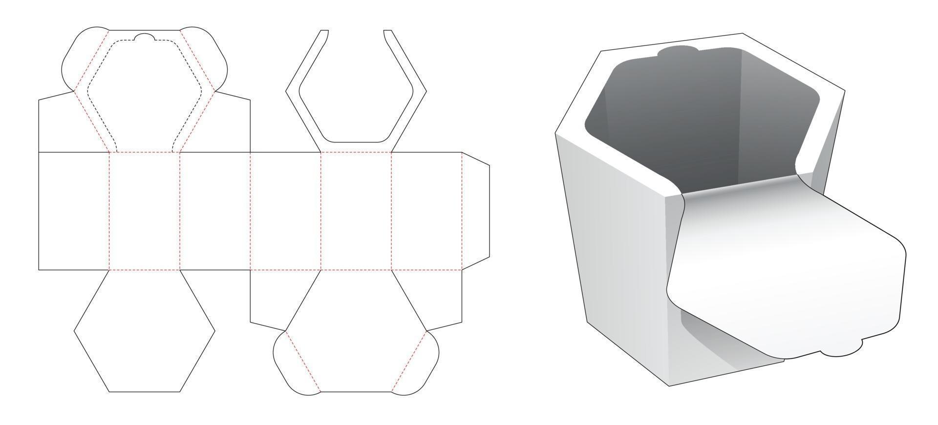 boîte hexagonale avec gabarit découpé à glissière sur le dessus vecteur