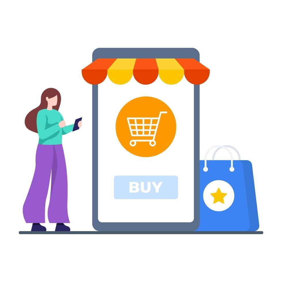 concept d & # 39; application de magasinage en ligne vecteur